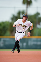 GCL Pirates center fielder Justin Harrer (16) runs the bases during the first game of a doubleheader against the GCL Yankees East on July 31, 2018 at Pirate City Complex in Bradenton, Florida.  GCL Yankees East defeated GCL Pirates 2-0.  (Mike Janes/Four Seam Images)