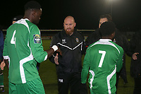Romford manager Paul Martin shakes hands with the Haringey players during Romford vs Haringey Borough, Bostik League Division 1 North Football at Ship Lane on 8th November 2017