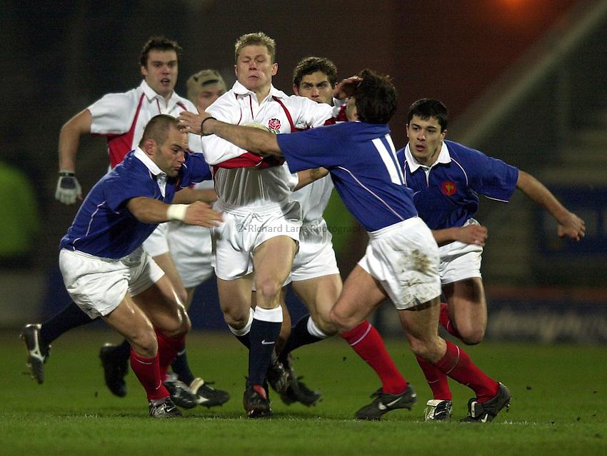 Photo. Richard Lane.England A v France A at Franklin Gardens, Northampton. 14/02/2003.Josh Lewsey attacks.