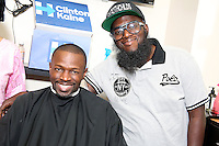 PHILADELPHIA, PA - AUGUST 19 :  Actor Sean Patrick Thomas pictured with Hip-Hop artist Freeway at Philly Cuts Unisex Salon for the Democratic Philadelphia voter registration launch in Philadelphia, Pa on August 19, 2016  photo credit Star Shooter/MediaPunch