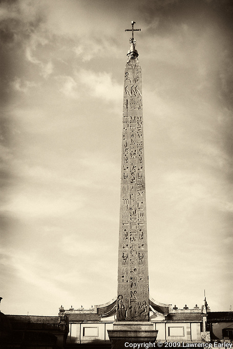"The Romans ""liberated"" about a dozen obelisks from Egypt and brought them to Rome.  Dating from about 1,300 B.C., this one was erected by Julius Caesar in the Circus Maximus and then, centuries later, repositioned in the Piazza del Populo."
