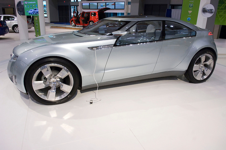 WASHINGTON, DC - Jan. 22: A Chevrolet Volt, an electric concept car, during media day at the Washington Auto Show. It can be configured to run on electricity, gasoline, E85 or biodiesel. (Photo by Scott J. Ferrell/Congressional Quarterly)