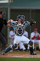 Maine Black Bears catcher Patrick Coughlin (26) during a game against the Ball State Cardinals on March 3, 2015 at North Charlotte Regional Park in Port Charlotte, Florida.  Ball State defeated Maine 8-7.  (Mike Janes/Four Seam Images)