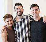 """Melanie Moore, Al Blackstone and Matt Doyle during a press Sneak-Peek for The Joyce Theater's presentation of """"Freddie Falls in Love"""" at Gibney Dance on July 15, 2019 in New York City."""