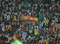 Nigeria fans hold up a Spanish Flag.. Spain defeated the U.S. Under-17 Men National Team  2-1 at Sani Abacha Stadium in Kano, Nigeria on October 26, 2009.