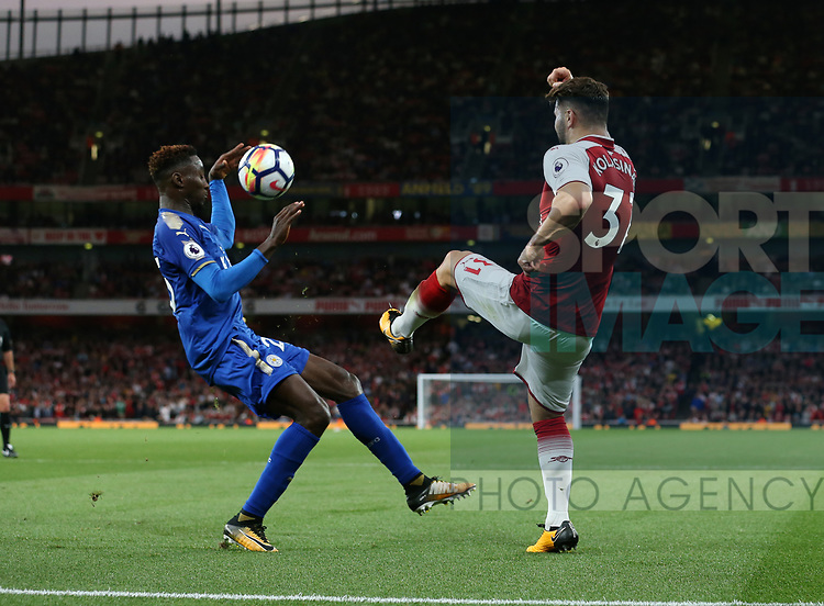 Leicester's Wilfred Ndidi appears to handle the ball but no penalty is given during the premier league match at the Emirates Stadium, London. Picture date 11th August 2017. Picture credit should read: David Klein/Sportimage
