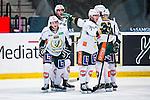 Stockholm 2014-01-18 Ishockey SHL AIK - F&auml;rjestads BK :  <br /> F&auml;rjestads Pontus &Aring;berg har gjort 1-0 och gratuleras av lagkamrater  <br /> (Foto: Kenta J&ouml;nsson) Nyckelord:  jubel gl&auml;dje lycka glad happy