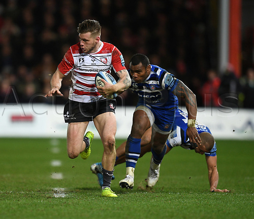 4th January 2020; Kingsholm Stadium, Gloucester, Gloucestershire, England; English Premiership Rugby, Gloucester versus Bath; Jason Woodward of Gloucester heads for the try line - Editorial Use