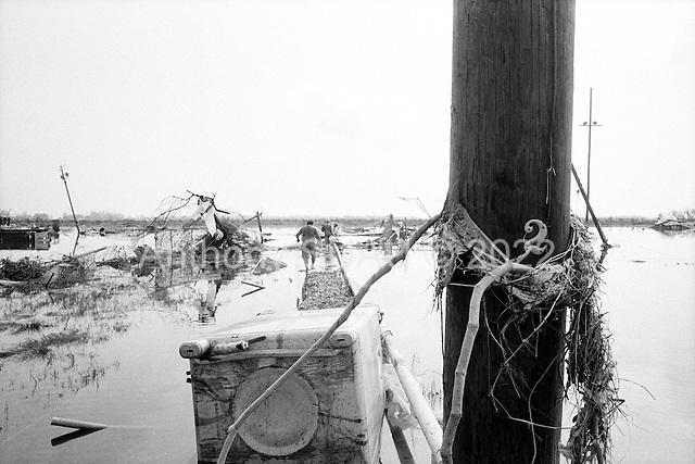 Cameron, Louisiana.USA.September 27, 2005 ..Hurricane Rita damage and recovery in the town of Cameron...Three residents return by small boat illegally to the town. Lawrence Landry 42, (shorts no shirt), Henry Roy Jr.49 (big guy) in shorts and older man, Roddy Aguillard, 59, as they visit their homes and town. All are shrimpers. ..Arriving in the town's completely destroyed center.