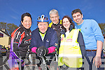 Minister Jimmy Denihan with event organisers Cora Carraigg, Phelim Macken, Yvonne O'Connor and Paul Collins pictured last Sunday morning in Athea for the annual Kerry/Limerick charity cycle.