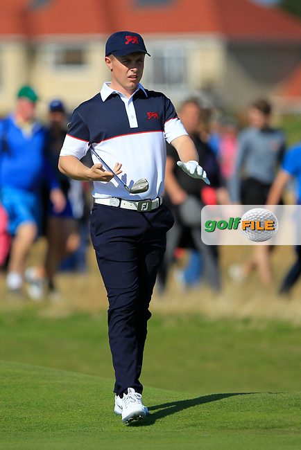 Conor Purcell (GB&I) on the 16th during Day 2 Foursomes of the Walker Cup, Royal Liverpool Golf CLub, Hoylake, Cheshire, England. 08/09/2019.<br /> Picture Thos Caffrey / Golffile.ie<br /> <br /> All photo usage must carry mandatory copyright credit (© Golffile | Thos Caffrey)