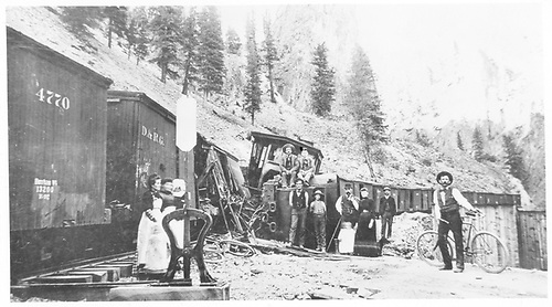 D&amp;RG #281 has wrecked at Creede and several interested people are posing for the camera with the mess.<br /> D&amp;RG  Creede, CO  1893