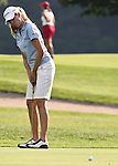 Taylor Leon reacts after missing her putt on the 10th hole at the Alliance Bank Golf Classic in Syracuse NY.