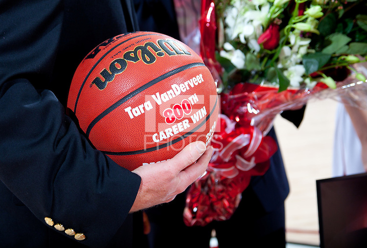 STANFORD, CA - January 8, 2011: The ball for Coach Tara VanDerveer's 800th career win celebration after Stanford's game against Arizona State at Maples Pavilion. Stanford won 82-35.