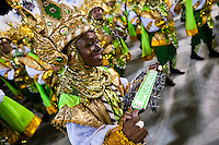 The drums section of Imperio da Tijuca samba school performs during the Carnival Access Group parade at the Sambadrome in Rio de Janeiro, Brazil, 19 February 2012. The Carnival in Rio de Janeiro, considered the biggest carnival in the world, is a colorful, four day celebration, taking place every year forty days before Easter. The Samba school parades, featuring thousands of dancers, imaginative costumes and elaborate floats, are held on the Sambadrome, a purpose-built stadium in downtown Rio. According to costumes, flow, theme, band music quality and performance, a single school is declared the winner of the competition.