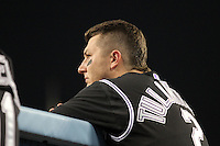 Colorado Rockies shortstop Troy Tulowitzki #2 watches a game against the Los Angeles Dodgers at Dodger Stadium on July 26, 2011 in Los Angeles,California. Los Angeles defeated Colorado 3-2.(Larry Goren/Four Seam Images)