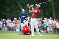 Bubba Watson reacts to his approach into the 10th green during the opening round of the PGA Championship at Valhalla (Photo: Anthony Powter) Picture: Anthony Powter / www.golffile.ie