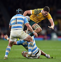 Rob Simmons of Australia takes on the Argentina defence. Rugby World Cup Semi Final between Argentina v Australia on October 25, 2015 at Twickenham Stadium in London, England. Photo by: Patrick Khachfe / Onside Images