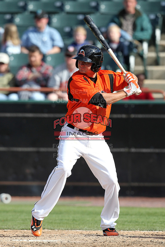 Bowie BaySox third baseman Buck Britton #5 during a game against the Harrisburg Senators at Prince George's Stadium on April 8, 2012 in Bowie, Maryland.  Harrisburg defeated Bowie 5-2.  (Mike Janes/Four Seam Images)