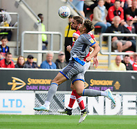 Lincoln City's Tyler Walker vies for possession with Rotherham United's Clark Robertson<br /> <br /> Photographer Chris Vaughan/CameraSport<br /> <br /> The EFL Sky Bet Championship - Rotherham United v Lincoln City - Saturday 10th August 2019 - New York Stadium - Rotherham<br /> <br /> World Copyright © 2019 CameraSport. All rights reserved. 43 Linden Ave. Countesthorpe. Leicester. England. LE8 5PG - Tel: +44 (0) 116 277 4147 - admin@camerasport.com - www.camerasport.com