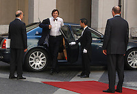 Il Presidente del Consiglio Enrico Letta (d) incontra il Primo Ministro belga Elio Di Rupo (s) a Palazzo Chigi, Roma, 20 giugno 2013.<br /> Italian Premier Enrico Letta, right, welcomes Belgian Prime Minister Elio Di Rupo, left, at Chigi Palace, Rome, 20 June 2013.<br /> UPDATE IMAGES PRESS/Isabella Bonotto