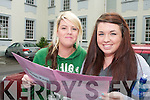 Megan Maughan and Christina Foley from Gaelcholaiste Chiarrai, Tralee on Wednesday after completing their English Paper 1 exam.