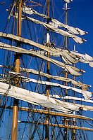 Mast of a Russian sailing ship docked in Marseille, France.