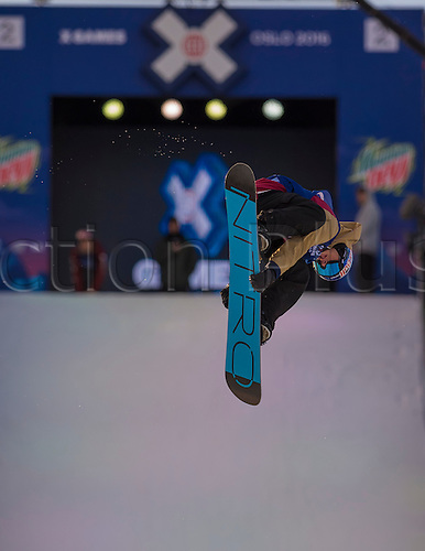 26.02.2016. Wyller Oslo Winter Park, Oslo, Norway. Red Bull X Games. Mens Snowboard Big Air  Round 1. Sebastian Toutant of Canada competes in the men's Snowboard Big Air Elimination   during the X Games Oslo 2016 at the Wyller Oslo winter park in Oslo, Norway.