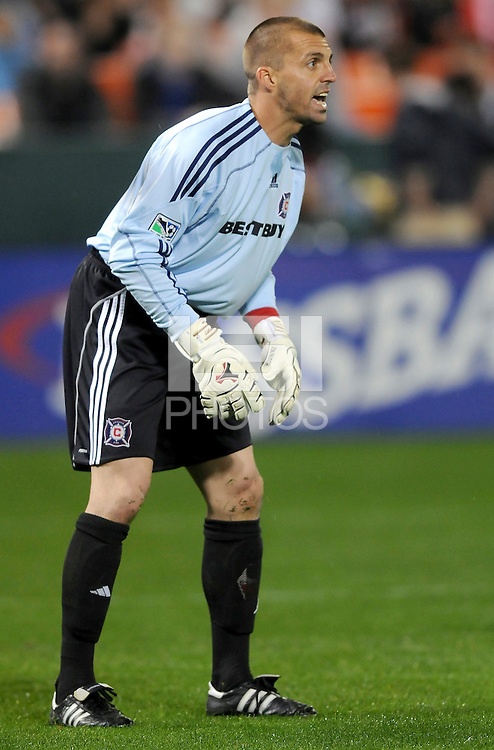 Chicago Fire goalkeeper Jon Busch (1) directs his teammates during a freekick.  Chicago Fire tied  DC United 1-1 at  RFK Stadium, Saturday March 28, 2009.