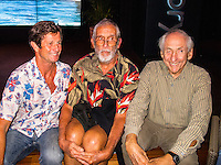 "HONOLULU, Turtle Bay Resort, North Shore, Oahu. - (Thursday, January 3, 2013) Mark Warren (AUS), Kimo Hollinger (HAW) and Peter Cole (USA). Greg Noll (USA) was the guest  speaker of Talk Story at Surfer The Bar tonight, Noll, nicknamed ""Da Bull"" by Phil Edwards in reference to his physique and way of ""charging"" down the face of a wave is an American pioneer of big wave surfing and is also acknowledged as a prominent longboard shaper. Noll was a member of a US lifeguard team that introduced Malibu boards to Australia around the time of the Melbourne Olympic Games. Noll became known for his exploits in large Hawaiian surf on the North Shore of Oahu. He first gained a reputation in November 1957 after surfing Waimea Bay in 25-30 ft surf when it had previously been thought impossible even to the local Hawaiians. He is perhaps best known for being the first surfer to ride a wave breaking on the outside reef at the so-called Banzai Pipeline in November 1964...It was later at Makaha, in December 1969, that he rode what many at the time believed to be the largest wave ever surfed. After that wave and the ensuing wipeout during the course of that spectacular ride down the face of a massive dark wall of water, his surfing tapered off and he closed his Hermosa Beach shop in the early 1970s. He and other surfers such as Pat Curren, Mike Stang, Buzzy Trent, George Downing, Mickey Munoz, Wally Froyseth, Fred Van Dyke and Peter Cole are viewed as the most daring surfers of their generation...Noll is readily identified in film footage while surfing by his now iconic black and white horizontally striped ""jailhouse"" boardshorts and was interviewed by host Jodi Wilmott (AUS). . Photo: joliphotos.com"