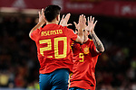 Spain's Marcos Asensio (L) and Paco Alcacer (R) celebrate goal during UEFA Nations League 2019 match between Spain and England at Benito Villamarin stadium in Sevilla, Spain. October 15, 2018. (ALTERPHOTOS/A. Perez Meca)