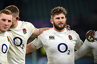 Alec Hepburn of England looks on in a post-match huddle. Quilter International match between England and Australia on November 24, 2018 at Twickenham Stadium in London, England. Photo by: Patrick Khachfe / Onside Images