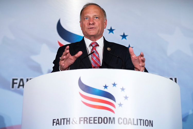 UNITED STATES - JUNE 18: Rep. Steve King, R-Iowa, addresses the Faith & Freedom Coalition's Road to Majority conference which featured speeches by conservative politicians at the Omni Shoreham Hotel, June 18, 2015. (Photo By Tom Williams/CQ Roll Call)