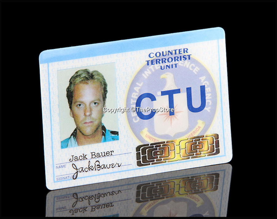 BNPS.co.uk (01202 558833)<br /> Pic: ThePropStore/BNPS<br /> <br /> Kiefer Sutherland's Jack Bauer ID from 24.<br /> <br /> Stop! Police! - Hollywoods finest...and funniest id badges come up for auction.<br /> <br /> The world's largest ever collection of IDs belonging to a who's who of film and TV stars is set to be auctioned. <br /> <br /> Credentials used by Hollywood royalty including Jodie Foster, Bruce Willis, Leonardo DiCaprio, Jeremy Irons, Eddie Murphy and Kiefer Sutherland are all about to go under the hammer. <br /> <br /> The lots are being sold on behalf of an anonymous collector who amassed the collection over a period of 15 years. <br /> <br /> They will be auctioned by the Prop Store in London on Tuesday, September 27.