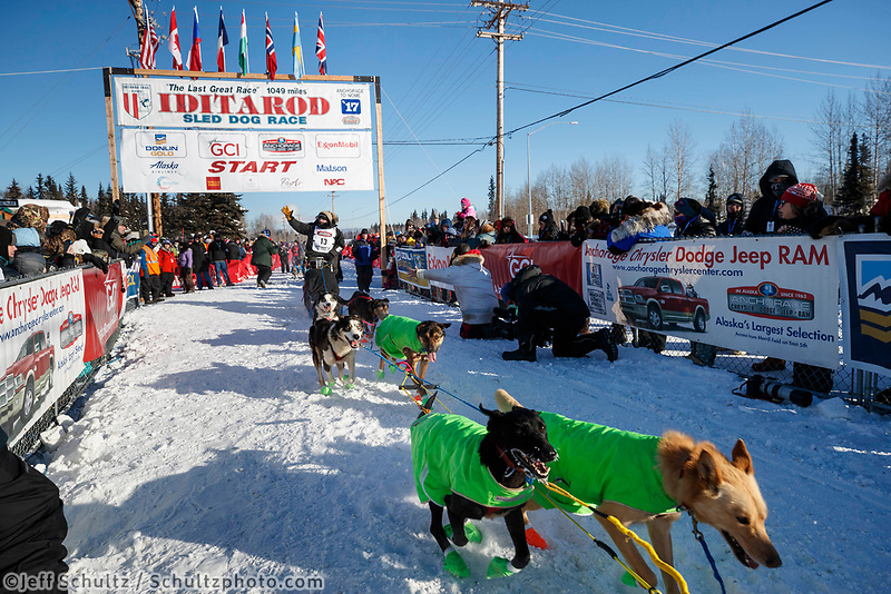 Sebastien Vergnaud leaves the re-start line of the 2017 Iditarod in Fairbanks, Alaska at Pike's Landing on Monday March 6, 2017.<br /> <br /> Photo by Jeff Schultz/SchultzPhoto.com  (C) 2017  ALL RIGHTS RESVERVED