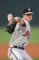 Starting pitcher Jaret Hellinger (51) of the Rome Braves delivers a pitch in game two of a doubleheader against the Greenville Drive on Tuesday, May 30, 2017, at Fluor Field at the West End in Greenville, South Carolina. Rome won, 10-7. (Tom Priddy/Four Seam Images)