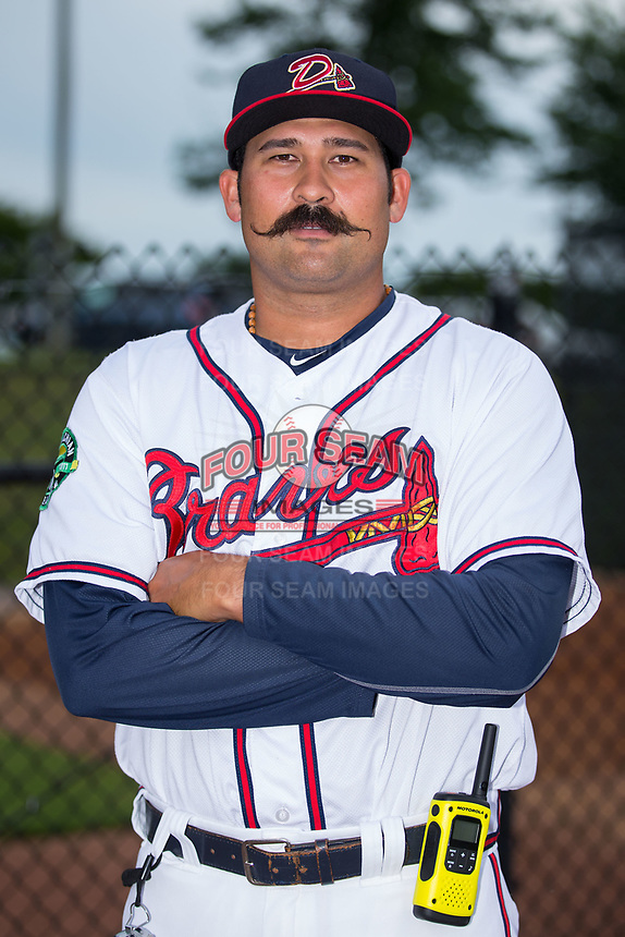 Danville Braves pitching coach Kanekoa Texeira (50) poses for a photo prior to the game against the Princeton Rays at American Legion Post 325 Field on June 25, 2017 in Danville, Virginia.  The Braves walked-off the Rays 7-6 in 11 innings.  (Brian Westerholt/Four Seam Images)