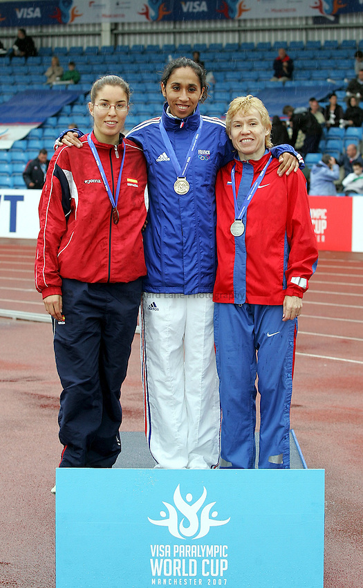 Photo: Paul Thomas..VISA Paralympic World Cup 2007. Athletics. 13/05/2007...(L-R) Elena Congost of Spain, Assia El Hannouni of France and Rima Batalova of Russia.