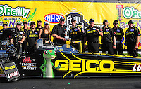 27-29 April, 2012, Houston, Texas USA, Morgan Lucas, Geico Powersports, Lucas Oil, top fuel dragster, winner, celebration, trophy, Toyota @2012, Mark J. Rebilas
