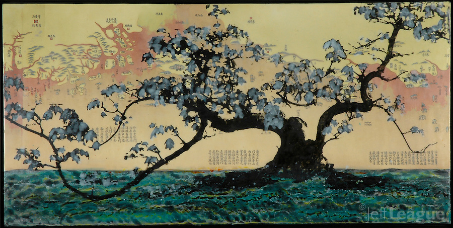 Mixed media encaustic painting | encaustic photography of bonsai tree over antique map of China.