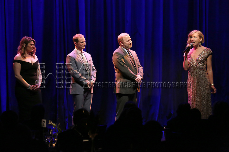 Heidi Blickenstaff, Jeff Bowen, Hunter Bell and Susan Blackwell on stage at the Vineyard Theatre 2017 Gala at the Edison Ballroom on March 14, 2017 in New York City.