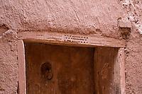 Morocco.  Berber Decoration on Door Frame of House, Ait Benhaddou Ksar, a World Heritage Site.