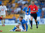 St Johnstone v FC Luzern...24.07.14  Europa League 2nd Round Qualifier<br /> Stevie May goes down injured<br /> Picture by Graeme Hart.<br /> Copyright Perthshire Picture Agency<br /> Tel: 01738 623350  Mobile: 07990 594431
