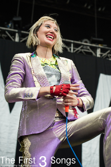 Karen O of the Yeah Yeah Yeahs performs at the Outside Lands Music & Art Festival at Golden Gate Park in San Francisco, California.