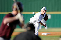 Pitcher Tyler Jackson (22) of the University of South Carolina Upstate Spartans delivers a pitchin a game against the College of Charleston Cougars on Tuesday, March 31, 2015, at Cleveland S. Harley Park in Spartanburg, South Carolina. Charleston won, 10-0. (Tom Priddy/Four Seam Images)