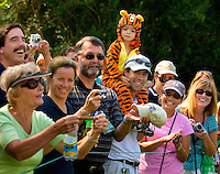 A young Tiger Woods fan is dressed in a Tiger costume during the 2007 Wachovia Championships at Quail Hollow Country Club in Charlotte, NC.