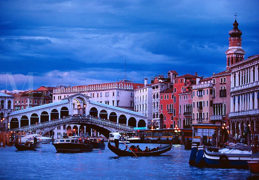 The Grand Canal with view toward the Rialto Bridge Venice Italy.