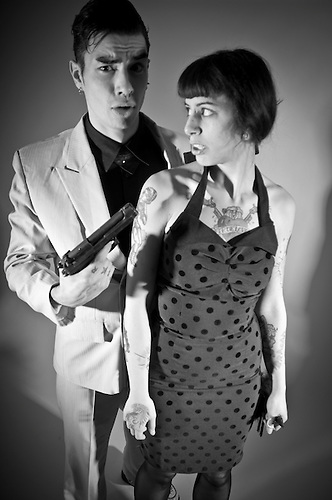Male and female shot in studio, with signed model release..Kris Fiore.Franny Love
