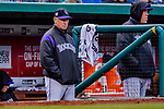 15 April 2018: Colorado Rockies Manager Bud Black watches play from the dugout during a game against the Washington Nationals at Nationals Park in Washington, DC. All MLB players wore Number 42 to commemorate the life of Jackie Robinson and to celebrate Black Heritage Day in pro baseball. The Rockies edged out the Nationals 6-5 to take the final game of their 4-game series. Mandatory Credit: Ed Wolfstein Photo *** RAW (NEF) Image File Available ***