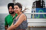 Cook Strait, NEW ZEALAND - January 17: Couple enjoying their long Wellington Anniversary by taking a trip on the Interislander Kaitaki for a trip to the South Island. January 17, 2015 in Cook Stait, New Zealand. REAL PEOPLE. (Photo by Elias Rodriguez/ real-people.co.nz)